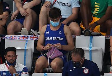 atleta olímpico tom daley fazendo tricô e a representatividade disso para o artesanato